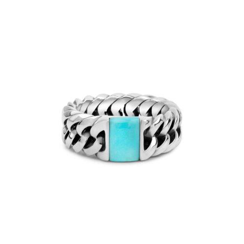 Buddha to Buddha Chain Stone Turquoise Ring